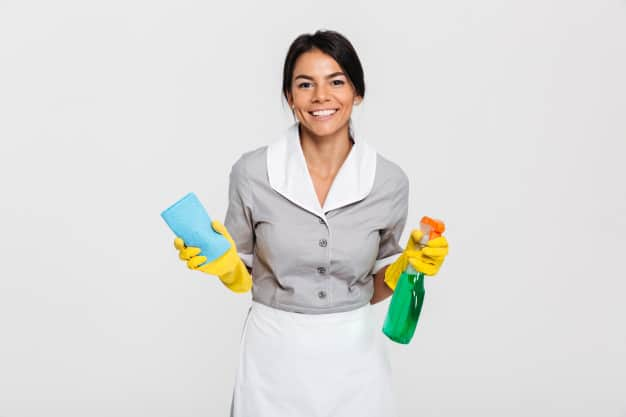 Professional housekeeper holding rag cleaning spray
