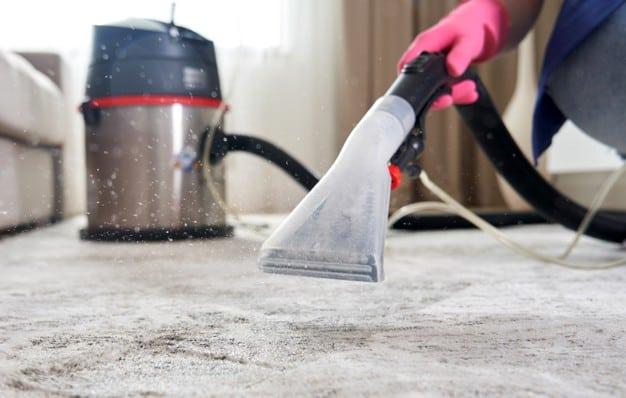 Professional cleaning carpet using vacuum cleaner